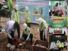 Kepala Kantor Kementerian Agama Provinsi Kalimantan Timur Meletakkan Batu Pertama Dalam Pembangunan Gedung Pusat Pembelajaran Terpadu Program Keagamaan MAN 2 Samarinda.